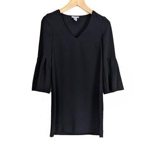 H&M Bell Sleeve Matte Satin Mini Shift Dress